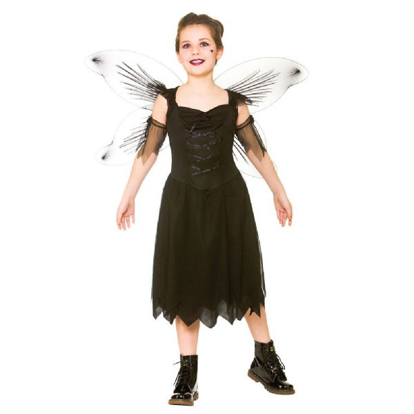 Girls Dark Fairy Costume for Make-Believe Fairytale Pan Tinkerbell Fancy Dress